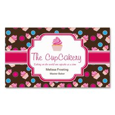Bakery business card design creativework247 templates templates brown and pink cute cupcake bakery business cards make your own business card with this reheart Choice Image