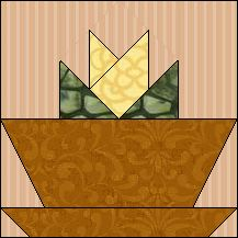 Block of Day for April 25, 2016 - Flower Pot  foundation/paperpiecing  -The pattern may be downloaded until: Thursday, May 5, 2016.
