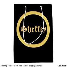 Sheffey Fonts - Gold and Yellow 9634 medium gift bag
