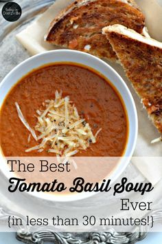 With healing bone broth, heavy cream, and fresh basil, this is THE best tomato basil soup ever! And you can make this simple soup in less than 30 minutes. Real Food Recipes, Cooking Recipes, Healthy Recipes, Ninja Recipes, Healthy Soups, Cooking Ideas, Keto Recipes, Food Ideas, Vegetarian Soups