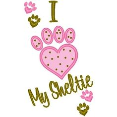 I Love My Sheltie Applique - 3 Sizes!   Tags   Machine Embroidery Designs   SWAKembroidery.com Band to Bow