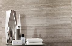 Minoli Tiles - This extravagant tile is from the new Minoli collection. It is simply attractive!  It's Marvel Travertino Silver Lappato by #Minoli .Wall Tiles : Marvel Travertino Silver Lappato 45 x 90. - http://www.minoli.co.uk/tiles/travertine-porcelain-tile/ - http://www.thesurfacewithin.co.uk/range/marble-effect-porcelain-tiles/travertine-look-tile