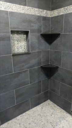 Stunning shower remodel using bali cloud pebble tile flooring, niche and accent strip. Next Bathroom, Mold In Bathroom, Bathroom Tile Designs, Bathroom Renos, Small Bathroom, Bathroom Ideas, Shower Ideas, Bathroom Canvas, Silver Bathroom