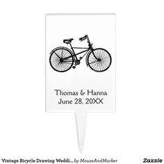 Vintage Bicycle Drawing Wedding Cake Topper Wedding Cupcake Toppers, Vintage Cake Toppers, Wedding Cupcakes, Wedding Cake, Our Wedding, Bicycle Drawing, Vintage Bicycles, Cake Decorating, Wedding Decorations