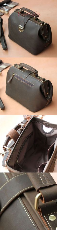 Handmade doctor bag leather vintage women handbag shoulder bag crossbody bag