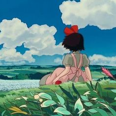 """1,265 Likes, 5 Comments - Studio ghibli🌸 (@ghibli.city) on Instagram: """"Kiki🎀 ☆ I wish I could later and watch the sky like Kiki! I have so many exams and projects and all…"""""""
