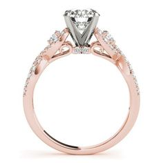 14k ROSE & WHITE GOLD DIAMOND SEMI-MOUNT ROUND VINTAGE REGAL ENGAGEMENT RING #SolitairewithAccents