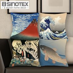 Japanese Ukiyo-e Cushion Cover 43x43cm Print Style Decorative Throw Pillow…