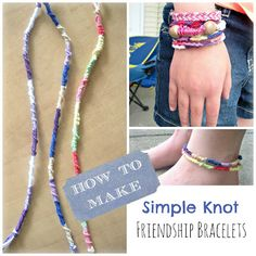 Kids summer activity - learn the art of frienship bracelet making - how to make a simple knot friendship bracelet Yarn Bracelets, Diy Bracelets Easy, Bracelet Knots, Bracelet Crafts, String Bracelets, Kids Bracelets, Making Friendship Bracelets, Friendship Bracelet Patterns, Bracelet Making