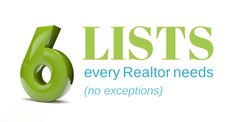 6 powerful lists every Realtor needs to succeed | Resources for Real Estate Agents