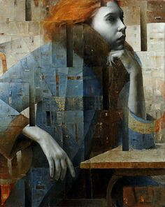 "2headedsnake: ""sitting Red Haired Girl""oil On Canvas 100x80 By Sergio Cerchi.    Sergiocerchi.it  Sergio Cerchi, Sitting Red Haired Girl, Oil On Canvas, 100x80"