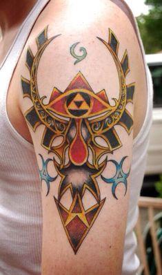 My first tattoo, inspired by Ocarina of Time Nintendo Tattoo, Gaming Tattoo, Body Art Tattoos, Cool Tattoos, Tatoos, Halo Tattoo, Legend Of Zelda Tattoos, Gamer Tattoos, Tattoo Parlors