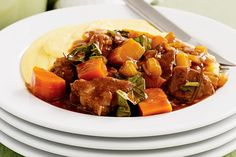 Creamy polenta is the perfect accompaniment to this hearty winter casserole. leftovers are great in mini pies Beef Casserole Recipes, Beef Recipes, Italian Recipes, Vegetarian Recipes, Cooking Recipes, Swiss Recipes, Italian Beef, Polenta Recipes, Gastronomia