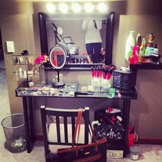 finally finished with my makeup vanity & I'm in love!! if you have any question on where I got any of it comment below