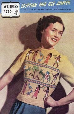 Egyptian style 1940s embroidered sweater knit vintage fashion style retro 30s 40s war era color photo print ad short sleeves yellow cream hieroglyphics people print novelty