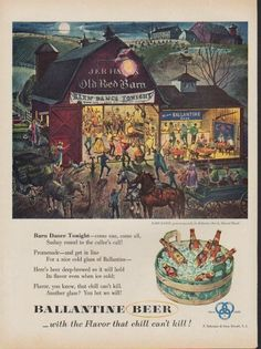 """Description: 1953 BALLANTINE BEER vintage print advertisement """"Barn Dance Tonight""""-- Barn Dance Tonight -- come one, come all, Sashay round to the caller's call! Barn Dance, painted especially for Ballantine Beer by Edward Klauck. Ballantine Beer -- with the Flavor that chill can't kill! -- Size: The dimensions of the full-page advertisement are approximately 10.5 inches x 14 inches (27cm x 36cm). Condition: This original vintage full-page advertisement is in Very Good Condition unless…"""