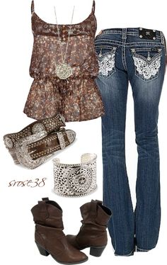 Ideas for cowgirl boats outfit jeans casual country fashion Looks Country, Country Girl Style, Country Fashion, Country Wear, Country Casual, Lady Like, Country Girls Outfits, Cowgirl Outfits, Cowgirl Boots
