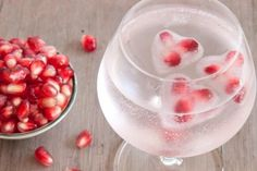 Pomegranate Heart Ice Cubes - Add a little fun to your cocktail drinks with these fun and easy pomegranate heart ice cubes!