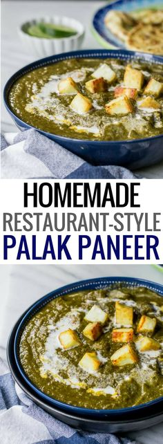 Restaurant style palak paneer recipe - This Indian vegetarian dish is popular with folks in India and abroad. Get this easy and healthy recipe to make restaurant style Palak Paneer (Spinach with cottage cheese) at home! Includes directions to make it in a