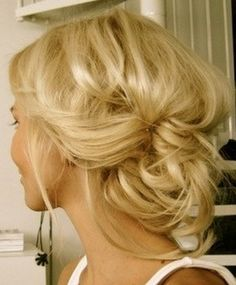 """We find this loose updo so romantic! Which updo style do you like? Share it on our separate board """"Hair Style""""? Follow us and comment this pin with """"Fluffy Updo"""". #hair #style #updo"""