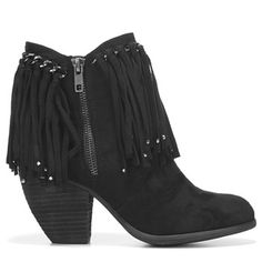 Not Rated Women's Ayita Fringe Booties (Black) - 7.0 M