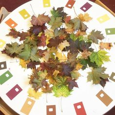 🌿🍂🍃🍁Autumn Leaves 🍁🍃🍂🌿 Who says you need a big budget to create engaging learning opportunities? Our artist in residence has set this up using leaves from our garden and paint swatches!