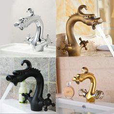 NEW Deck Mounted Bathroom Dragon Faucet Vanity Sink Mixer Tap Dual Handles #showerdream