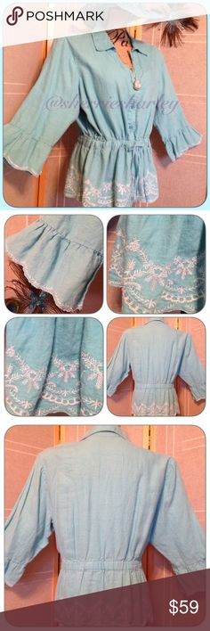 Boho Bell Sleeved Turquoise Blue Tunic 3W Soft button down, collared Bell Sleeved Turquoise Blue Tunic has an elastic gathered waist which adjusts with tie in front. Fits Plus sizes 18-24 well. Gently used. No tears, rips or stains. Style & Co Tops Tunics