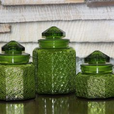 Large Green Glass Jars with Lids, Set of 3 Glass Storage Canisters, Cookie Jars, Large Mid Century Depression Glass FREE US Shipping