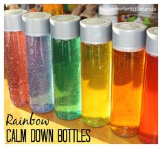 Rainbow Calm Down Bottles Therapy Activities, Sensory Activities, Infant Activities, Activities For Kids, Toddler Preschool, Toddler Crafts, Preschool Art, Toddler Fun, Crafts For Kids