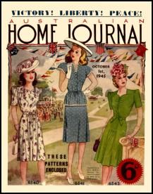 Mid Late 1940s Australian Home Journal Fashion Cover Pictures 1945-1949. ---- Psssst...the middle dress reminds me of what Allie wore in The Notebook when she visits Noah.