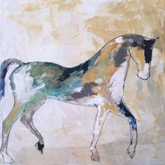 Standing Horse 5  Original Acrylic Canvas Painting by lizwiley