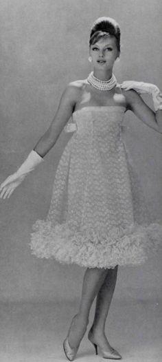1960 Christian Dior/YSL empire waist sleeveless cocktail dress with ruffled hemline