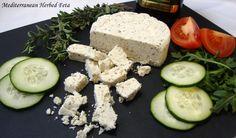 Mediterranean Herbed Feta (From the Non-Dairy Evolution Cookbook) - The Gentle Chef Vegan Cheese Recipes, Delicious Vegan Recipes, Vegan Snacks, Vegan Milk, Vegan Vegetarian, Vegetarian Recipes, Vegan Food, Vegan Substitutes, Vegan Dishes