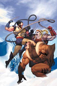 "astonishingx: "" Wolverine vs Sabretooth and Omega Red by Ariel Olivetti """