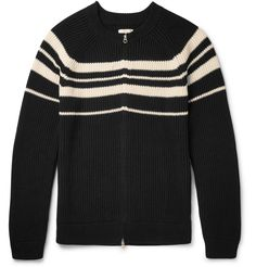 Heritage label <a href='http://www.mrporter.com/mens/Designers/Gant_Rugger'>Gant Rugger</a> helped to shape the preppy Ivy League look of the '50s, which is still apparent in its designs today. This ribbed cardigan is knitted from pure cotton and detailed with horizontal cream stripes. The zip fastening gives it a sporty spin. Wear yours with a down-filled jacket and dark denim on chilly winter days.