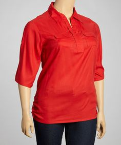 Love this Samba Ruched Polo - Plus by Sass & Sassy on #zulily! #zulilyfinds