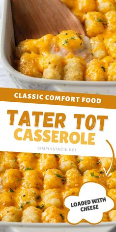 Tater Tot Casserole Recipe - The easiest family recipe that everyone loves! Layers of ground beef mixed with a creamy sauce with veggies and topped with crispy golden Tater Tots and loads of melted cheddar. Follow me on Pinterest for more simple dinner recipes.