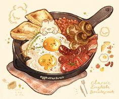 Cute Food Drawings, Cute Kawaii Drawings, Kawaii Art, Cute Food Art, Cute Art, Recipe Drawing, Food Sketch, Food Wallpaper, Food Cartoon
