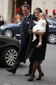 Princess Madeleine of Sweden, Christopher O'Neill and their daughter Princess Leonore arrive at the San Damaso Courtyard for her meeting with Pope Francis on April 27, 2015 in Vatican City, Vatican.