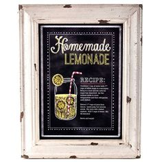 "Hobby Lobby - Distressed Cream Homemade Lemonade Chalkboard Sign Length: 17 7/8"" Width: 14"" Thickness: 1 1/2"""