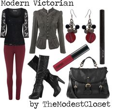 """Modern Victorian"" by themodestcloset ❤ liked on Polyvore"