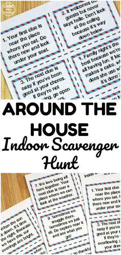 Printable Indoor Family Night Scavenger Hunt Cards – Look! We're Learning! Have an indoor scavenger hunt with these Around the House Indoor Scavenger Hunt Cards! Great for indoor play! Teen Scavenger Hunt, Scavenger Hunt Riddles, Outdoor Scavenger Hunts, Scavenger Hunt Birthday, Halloween Scavenger Hunt, Christmas Scavenger Hunt, Nature Scavenger Hunts, Photo Scavenger Hunt, Preschool Scavenger Hunt