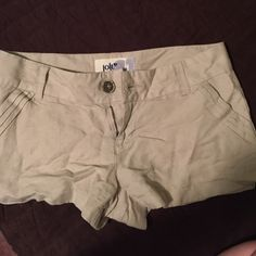 Khaki shorts Have never been worn. They have been sitting in my drawer. In perfect condition. No tears or stains and a smoke free home. Jolt Shorts
