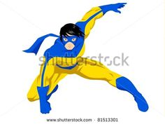 Stock vector of a superhero with mask in action posing - stock vector, clipart, heroic, figure, cool, cartoon, character, illustration
