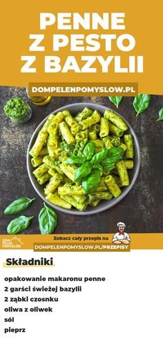 Penne z pesto z bazylii Vegetarian Recipes, Healthy Recipes, Good Food, Yummy Food, Penne, Veggies, Healthy Eating, Lunch, Meals