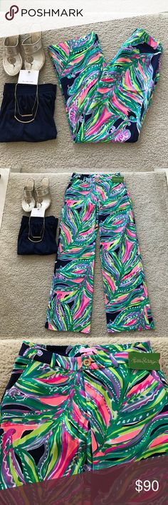 """Lilly Pulitzer Braylen Palazzo Pant Lilly Pulitzer Braylen Palazzo Pant in 'Don't Leave Me Hanging' Bright Navy. Gorgeous pattern, super cute, super flattering. Wide straight leg. Front zip and button closure. Pockets, belt loops. Laying flat waist approx 13.5"""" across. 34"""" inseam. Approx 7"""" front rise. 95 rayon 5 spandex. Size 00. NWT. #1319 Lilly Pulitzer Pants Wide Leg"""