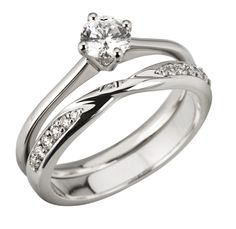 Platinum Brilliant Cut Diamond Engagement Ring & Matching Twist Wedding Ring