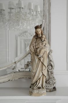 Stunning antique Madonna and Child statue by WhiteandFaded on Etsy