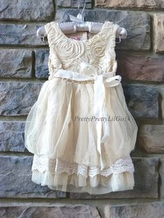 Little Girls Beige Rose Puff Dress If you are Looking for that Vintage Couture Dress for your Princess...this Dress is Perfect ! Great for Whimsical and Vintage Photo Shoots and Just Beautiful as a Fl